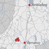 Kraftig brand i torvmosse utanfor bredaryd