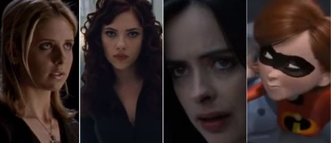Buffy the vampire slayer, The Black Widow, Jessica Jones och Elastigirl.