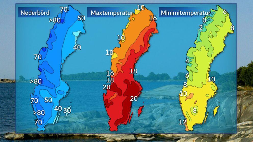 Normal uppmätt nederbörd och normaldygnets maximi- och minimitemperatur i juni.