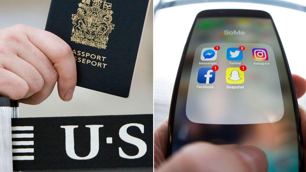 Kanadensiskt pass och en telefon med flera sociala medieappar