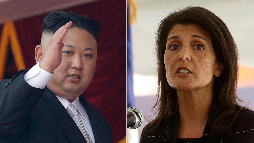 Nordkoreas ledare Kim Jong-Un och USA:s FN-ambassadör Nikki Haley.