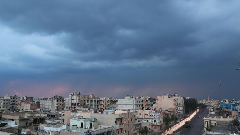 Bild över Raqqa från mars 2017.