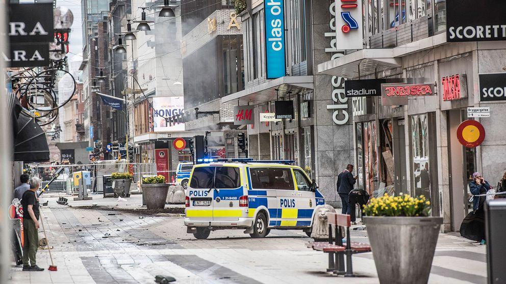 Drottninggatan strax efter terrorattacken.