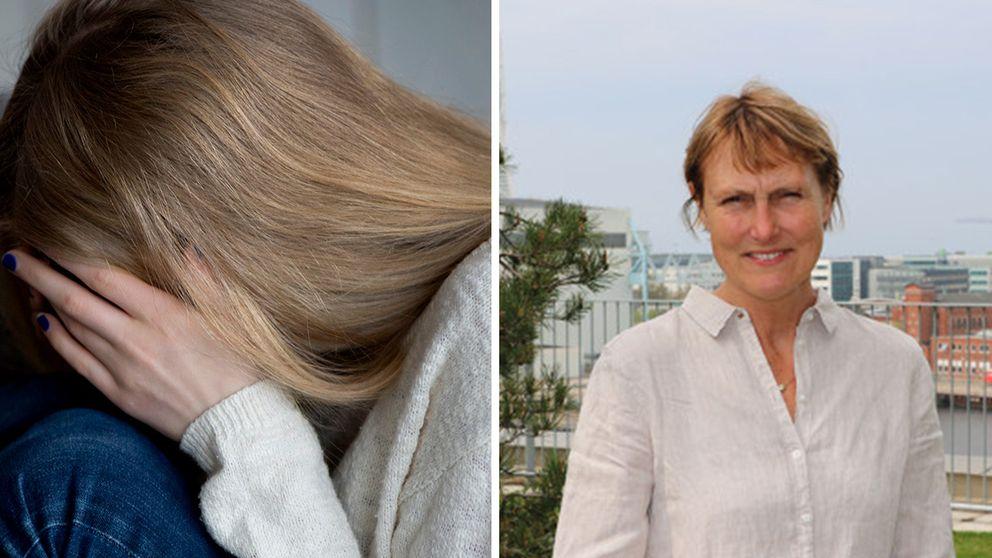 En tjej som har hår som täcker ansiktet och en bild på Maria Afzelius.