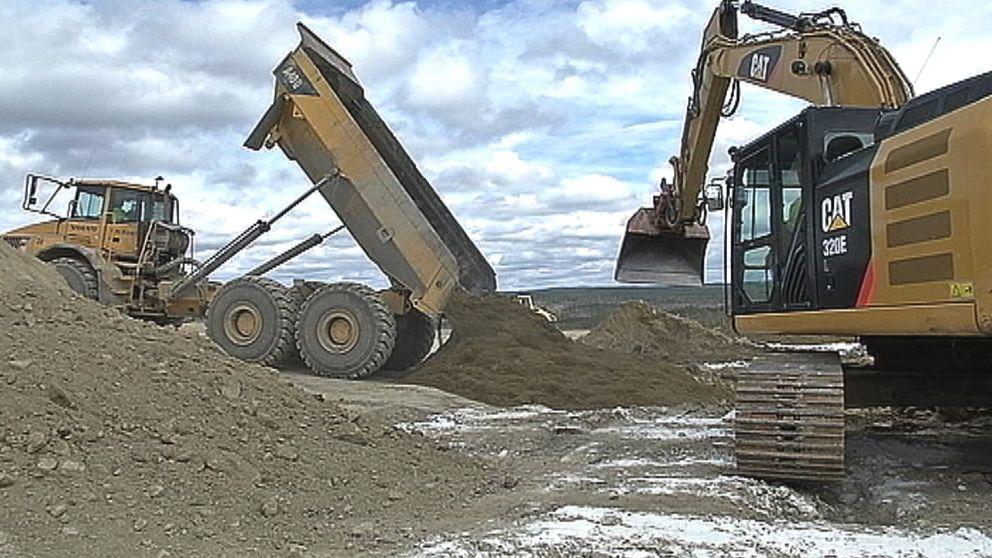 grävskopa, traktor, gruva