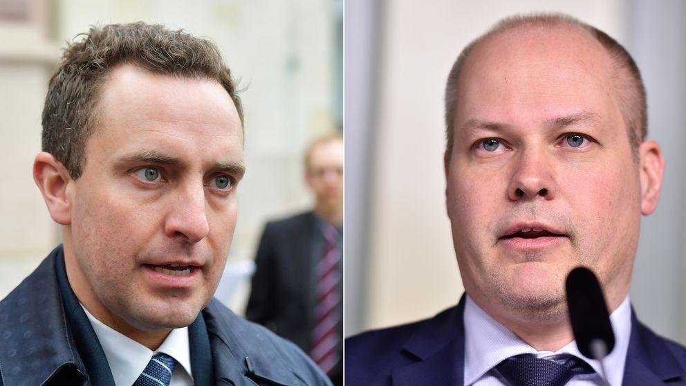 Rättspolitiske talesperson Tomas Tobé (M) och justitieminister Morgan Johansson (S).