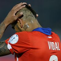 Arturo Vidal under en match mot Mexiko 2015.