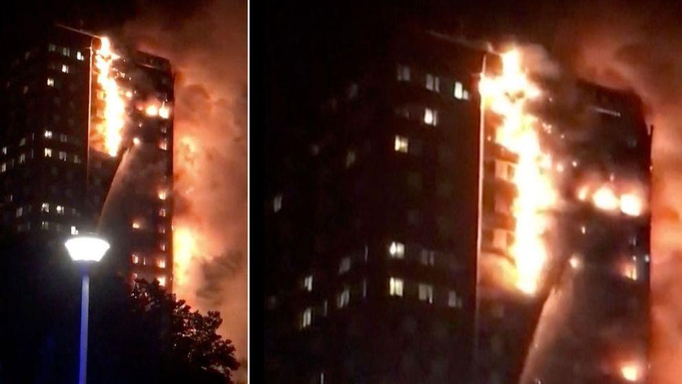 Storbrand i höghus i västra London