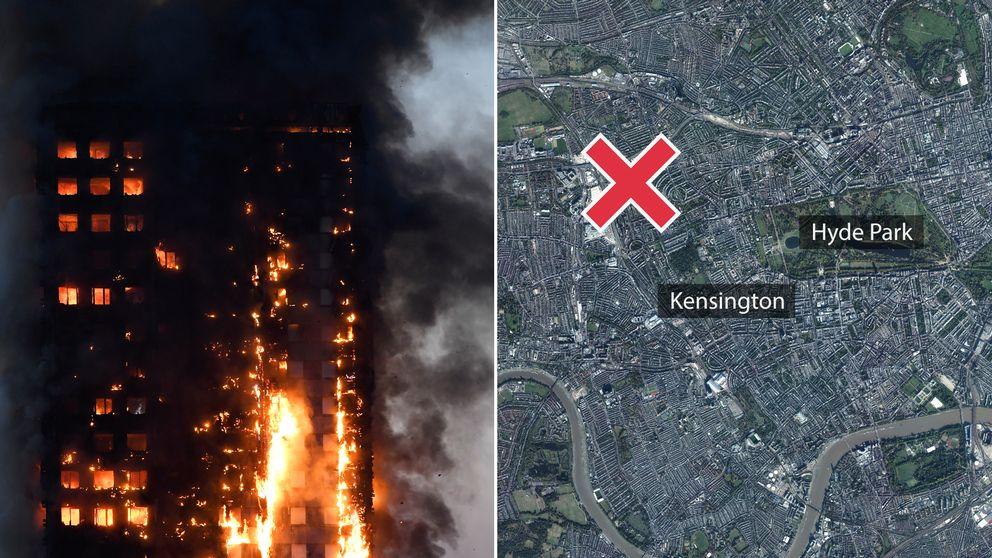 Det brinnande höghuset ligger i västra London.