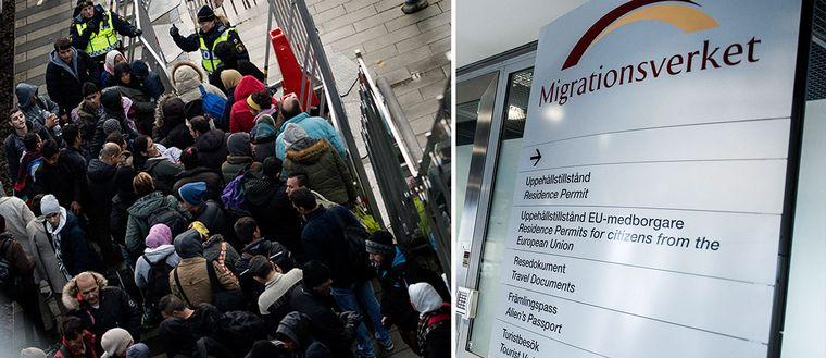 Stor grupp av asylsökande och migrationsverkets skylt.