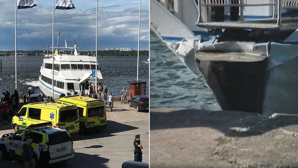 Passagerarbåten fick inte i full back utan kolliderade med kajen – elva personer skadades.