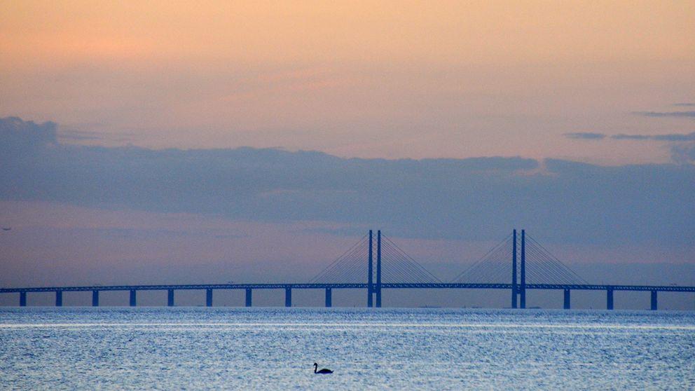 Solnedgång och bron syns från Höllviken, 18 juni