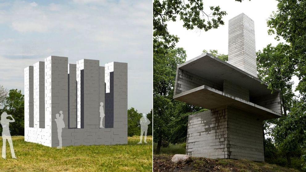 """En konceptbild av det nya verket """"Nine Towers"""". Till höger Antony Gormleys 18 meter höga torn, som skapade en åtta år lång juridisk konflikt med Ulf Lundell."""