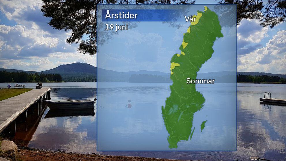 Årstidernas läge efter temperaturdygnet den 19 juni: Grönt betyder att sommaren anlänt (5 dygn över 10 grader) och gult betyder vår.