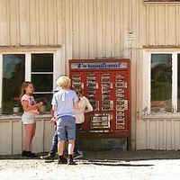 En grupp barn står framför två röda varuautomater från 60-talet.