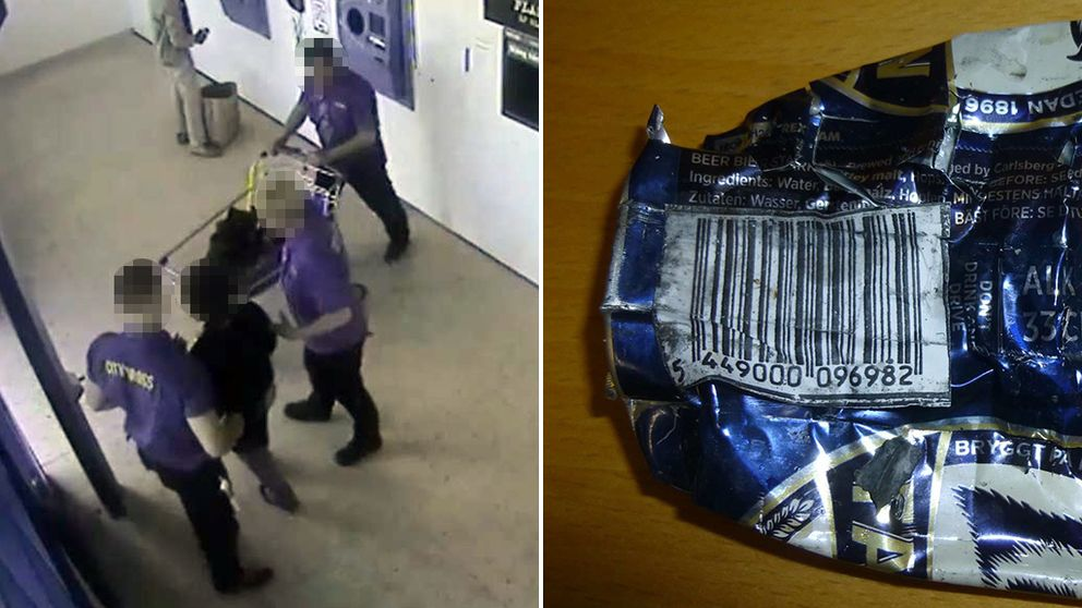 Här stoppar personal kvinnan som misstänks för bedrägeri efter pantfusk.