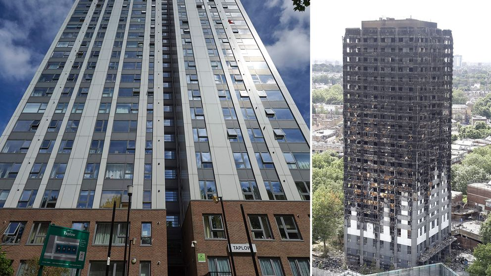 Chalcots estate i Camden i norra London (vänster) evakueras efter dödsbranden i Grenfell Tower (höger).