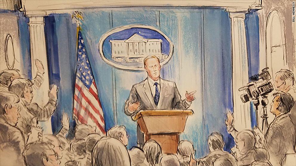 Bill Hennessys teckning av Sean Spicer vid Vita husets presskonferens i fredags.