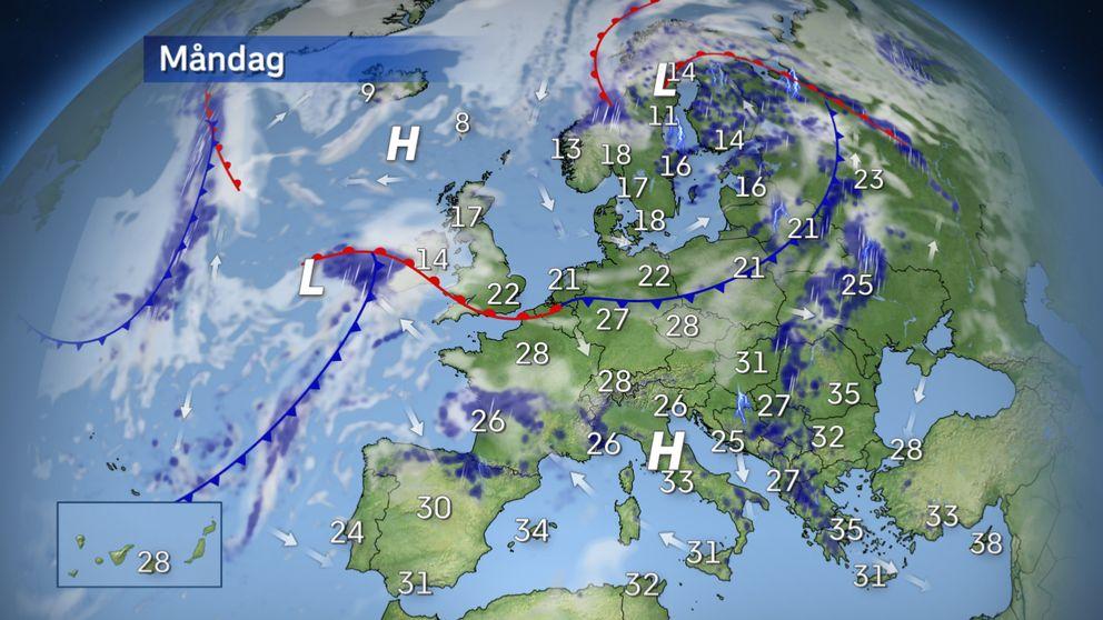 Europaväder: Fortsatt uppåt 40 grader lokalt