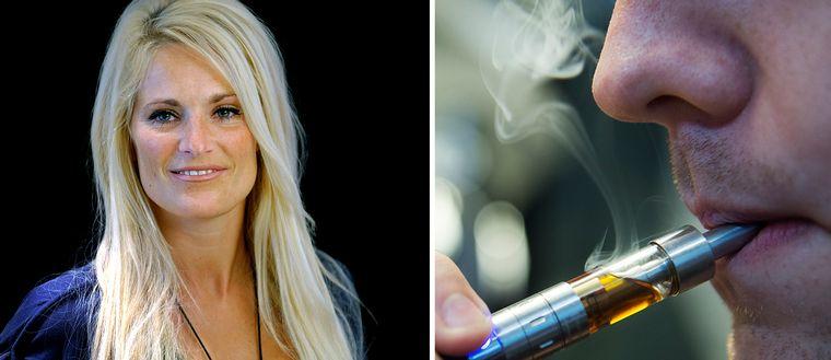 Laila Bagge och en man som röker en e-cigarett.