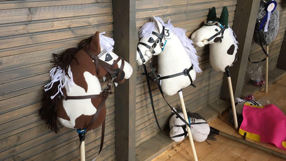 Fyra käpphästar uppställda mot en vägg.