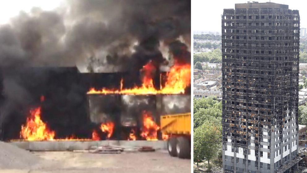 Det kan ha varit samma material som brann vid CSK 2013 som vid den ödesdigra branden i London den 23 juni. Nu ska dock sjukhuset vara säkert, säger projektledaren.