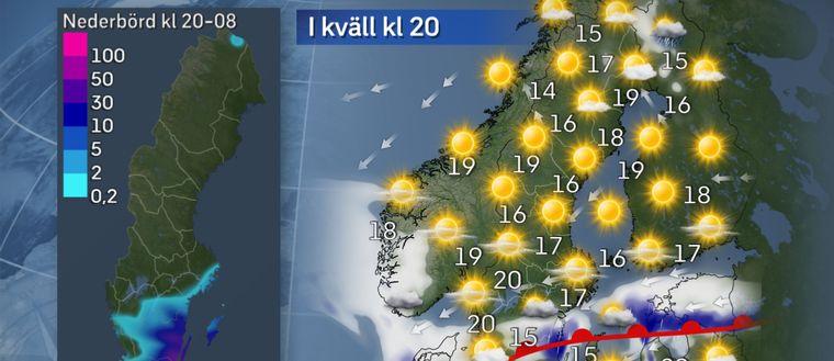 Regn och åskskurar drar in över framförallt sydöstra Götaland. Troligen kommer de kraftigaste skurarna över Öland, Gotland, Kalmar och Blekinge. I Norrland blir det istället soligt och vackert väder med svaga vindar.