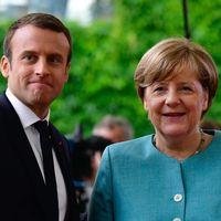 Tysklands förbundskansler Angela Merkel  och Frankrikes president Emmanuel Macron