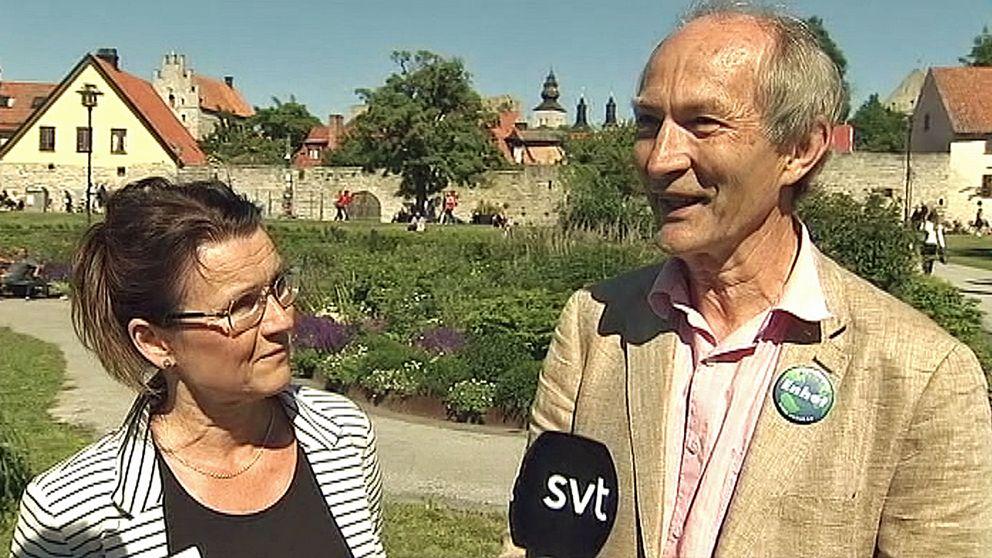 Partiet Enhets språkrör Catarina Bäckstrand och Anders Axners.