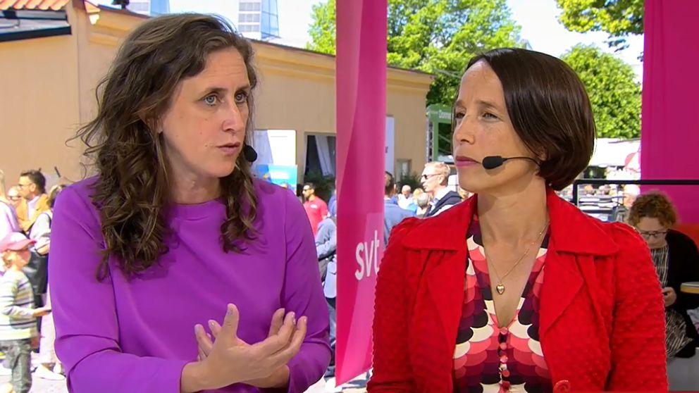 SVT:s vd Hanna Stjärne och Pia Rehnquist, chefredaktör för Sydsvenskan och Helsingborgs Dagblad