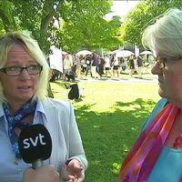 Carina Herrstedt, ordförande för Sverigedemokraternas kvinnoförbund (SD-kvinnor) och Carina Ohlsson, ordfförande S-kvinnor