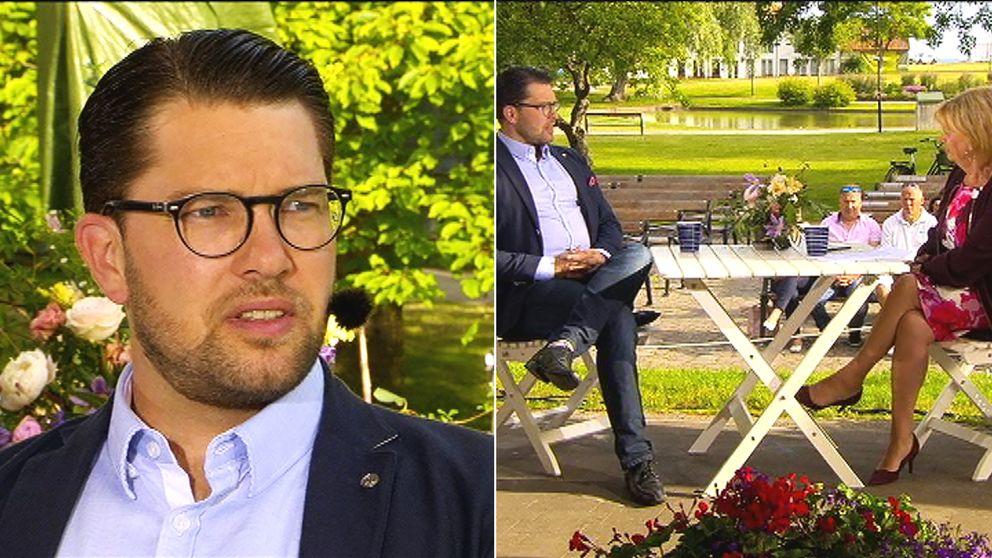 SD-ledaren Jimmie Åkesson intervjuas av Marianne Rundström i Gomorron Sverige i Almedalen.