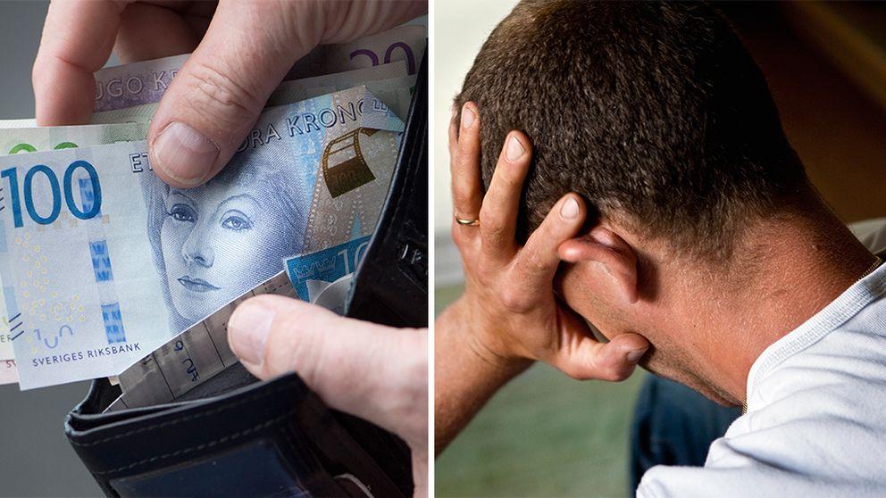 Bild på plånbok med pengar och bild på frustrerad man.