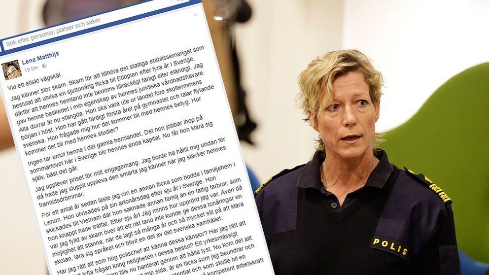 Polisområdeschef Lena Matthijs skrev känlsosamt inlägg om utvisningar och asylpolitik.