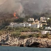 Skogsbränder nära staden San Vito lo Capo på Sicilien.
