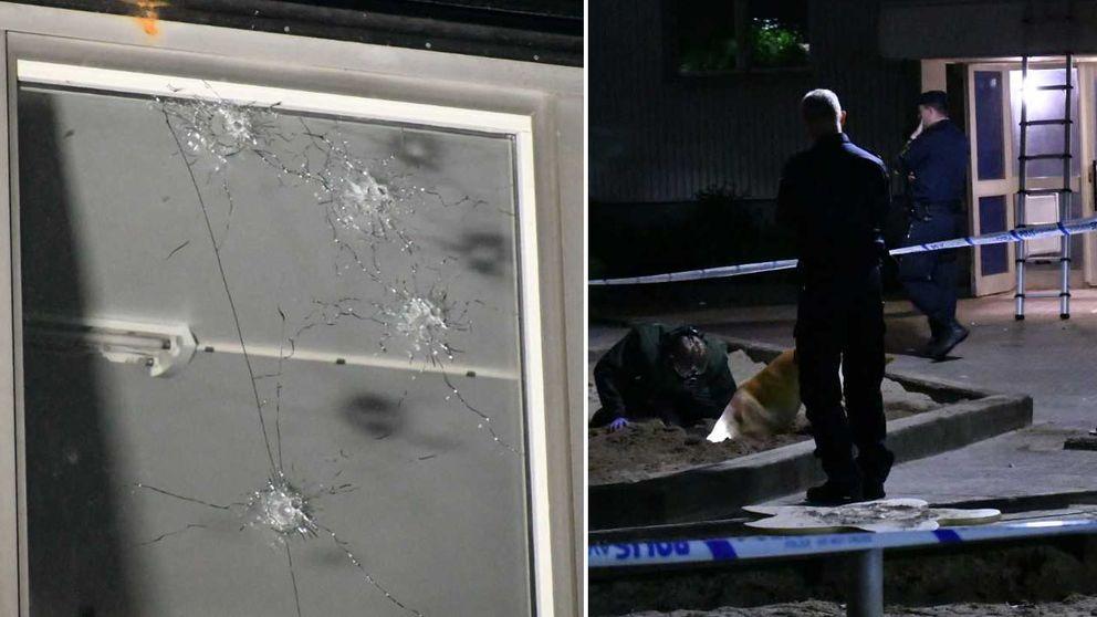 Skotthål i fönsterruta och poliser på plats