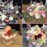 Blombuketterna och prinsessbakelserna som skapats för kronprinsessan Victorias födelsedag.