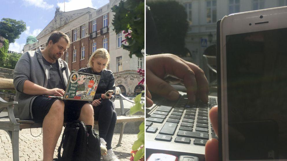 It-experten Anders Nilsson hackar reporterns mobil med hjälp av Helsingborgs stads öppna wifi.