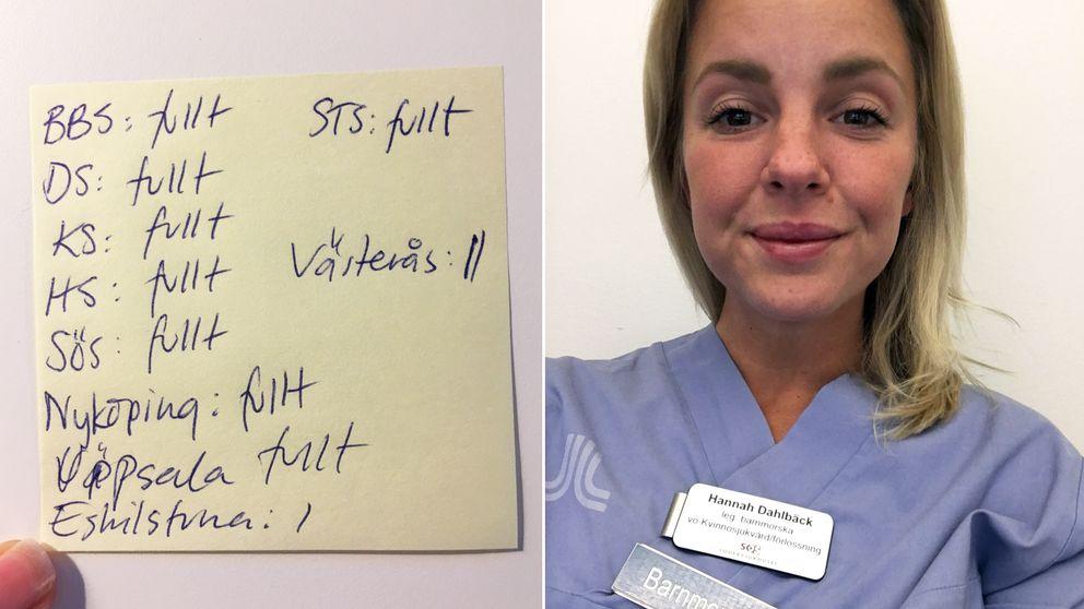 Natten till lördag var det fullt på Stockholms läns alla förlossningskliniker. Här är Hannahs anteckningar från natten när hon ringde runt och försökte hitta plats åt föderskor.