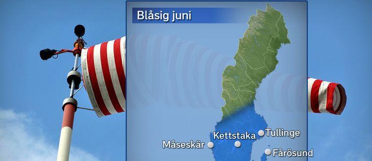 Kartan visar i vilket område det blåst mer än normalt och i vilka orter som detta har uppmätts. Alla orter som man konstaterat haft blåsigt väder har dock inte tagits med på kartan. Bland annat hade också Malmö och Sala blåsigare än normalt.