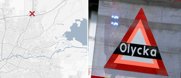 En karta med kryss på riksväg 50 i örebro och en bild på en skylt med texten olycka