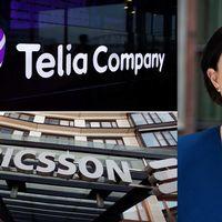 Bild på Telias och Ericssons företagsskyltar och en porträttbild på Ingela Gabrielsson.