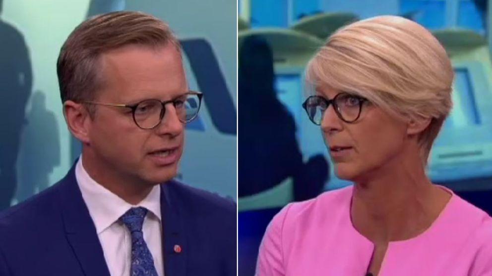 Från höger näringsminister Mikael Damberg (S) och Elisabeth Svantesson (M).