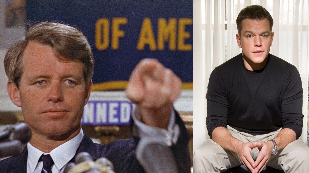 Robert Kennedy, några månader innan han mördades i juni 1968, och skådespelaren Matt Damon.