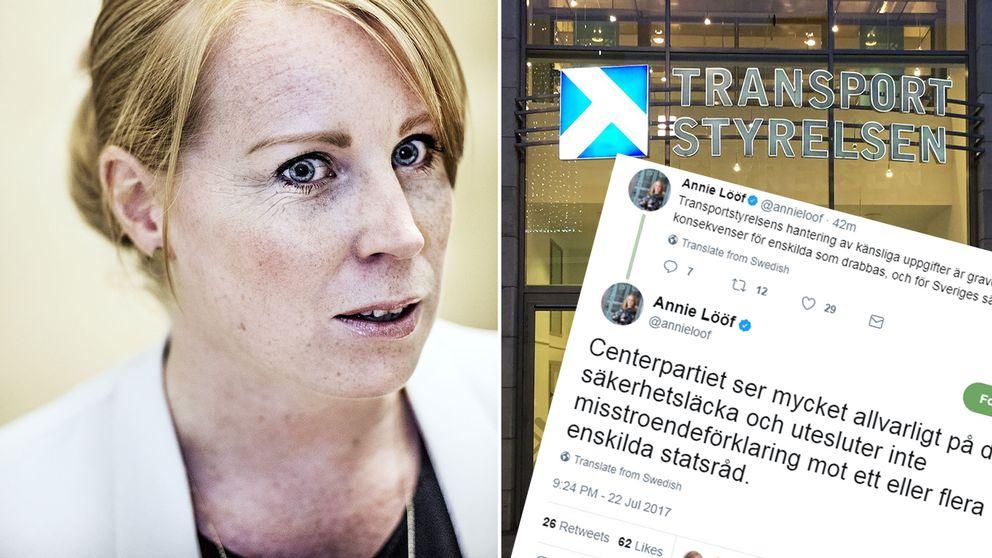 """IT-skandalen kan få """"stora konsekvenser för enskilda som drabbas, och för Sveriges säkerhet"""", skriver Centerpartiets ledare Annie Lööf på Twitter."""