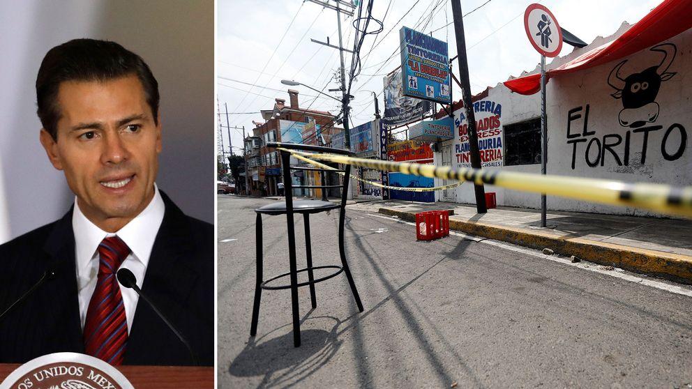 Mexikos president Enrique Peña Nieto och en av platserna för söndagens skottlossningar, i Llano Redondo.