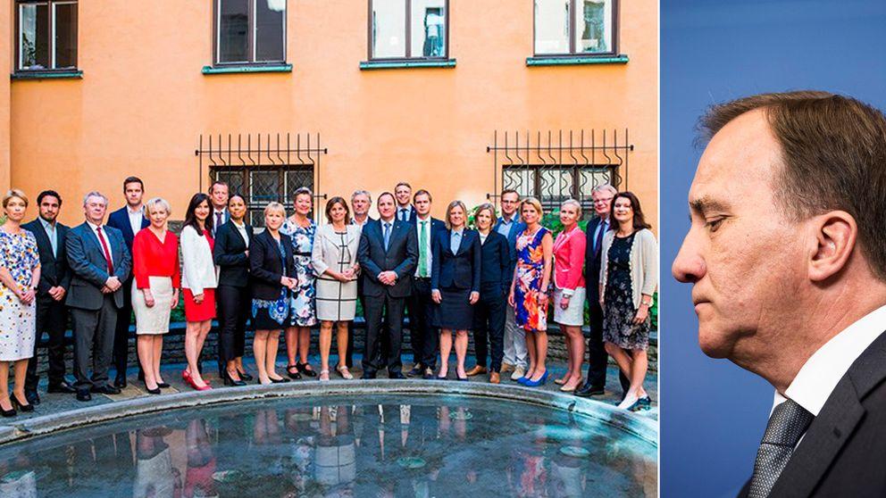 Till vänster: Sveriges regering på gruppbild. Statsminister Löfven till höger.