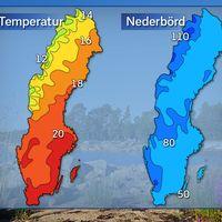 Normala värden för genomsnittlig dagstemperatur [°C] och nederbördsmängd [mm] under augusti månad.