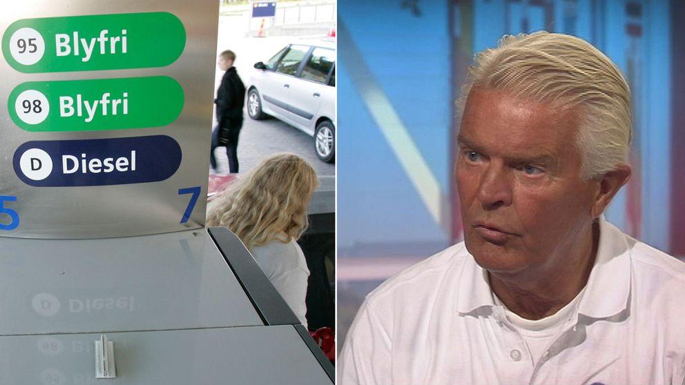 En kvinna tankar samt Bil Swedens vd Bertil Moldén