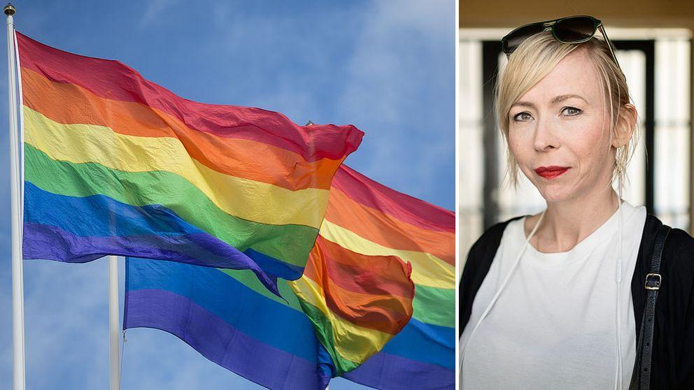 Prideflagga och Jenny Jägersted
